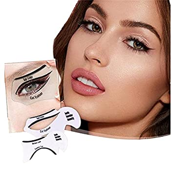 Quick Make-Up Stencils eye shadow Eyeliner Card Eyeliner Stencil-For The Perfect Winged Tip Eyeliner Look.Novice Eyelash Aid Beauty Makeup Tool.Reusable Easy to Clean & Flexible  B White