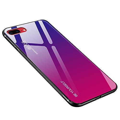 Hülle für iPhone 8 Plus, Hülle für iPhone 7 Plus Gehärtetes Glas Zurück mit Weichem TPU Silikon Rahmen Handyhülle Farbverlauf Farbe Case Schutzhülle für iPhone 7 Plus / 8 Plus (Blau-Rose)