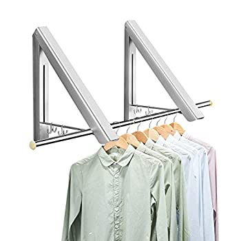 Clothes Drying Rack Wall Mounted Folding Coat Hanger Retractable Clothes Dry Racks with 31.5 Inch Rod Space-Saver Hanger for Laundry Room Closet Storage Organization