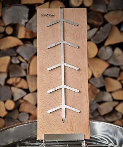 Grillfürst Flammlachsbrett aus Buchenholz, 190mm Klemm-Halterung mit 11mm Nut - für Grill und Feuerschale