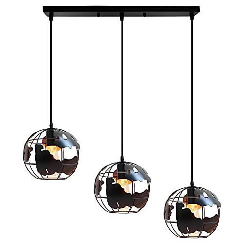 iDEGU Lámpara de techo industrial creativa diseño de forma de tierra, 20 cm lámpara colgante vintage iluminación decorativa para salón, comedor, lámpara 3 en 1 con 50 cm barra (Negro)