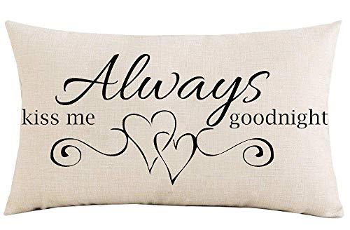 Funda de almohada de 30,5 x 50,8 cm, regalo del festival Always Kiss Me Goodnight día de San Valentín, boda, aniversario, algodón, lino, decoración para el hogar, sofá, silla de coche, funda de cojín