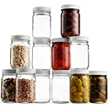 Glass Mason Jars (12 Pack) - 12 Ounce Regular Mouth Jam Jelly Jars, Metal Airtight Lid, USDA...