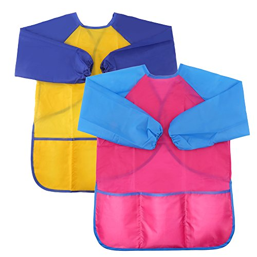 VEYLIN Children Paint Aprons with Pockets for Kids Age 2-8 Years, Pack of 2