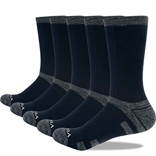 GiveGift YUEDGE 5 Pares Termicos Calcetines de Algodón para Hombre Calcetines de Montaña Senderismo talón y puntera reforzados almohadilla Transpirable Trabajo Botas Calcetines Azul L
