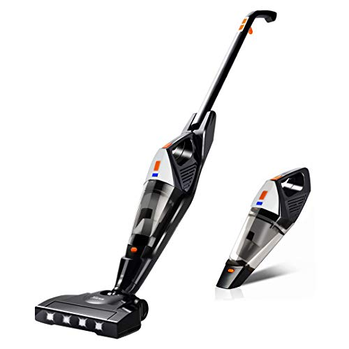 Best Buy! Cordless Vacuum, Hikeren Portable Stick Vacuum Cleaner, Powerful Lightweight 2 in 1 Cordless Stick Vacuum with Rechargeable Lithium Ion Battery for Hard Floor Carpet Pet Hair, White