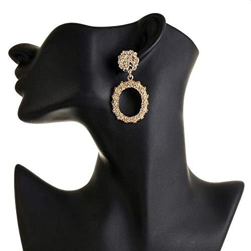 ZJL Stilvolle Einfachheit Ohrring Europäischen und Amerikanischen Reifen Retro Metall Relief Muster Großen Kreis Ohrringe Weibliche Mode Temperament Ohrringe