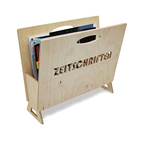INEXTERIOR Zeitungshalter aus Holz für Zeitschriften, Magazine und Kataloge - in Deutschland gefertigt - 35x14x30cm (LxBxH) Zeitungsständer (Natur)