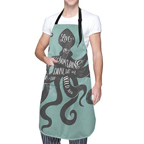 NOLOVVHA Ajustable Colgante de Cuello Personalizado Delantal Impermeable,Vivir bajo el sol Nadar en el mar Beber el aire salvaje Mensaje Gráfico Octopus,Babero de Cocina Vestido con 2 Bolsillos