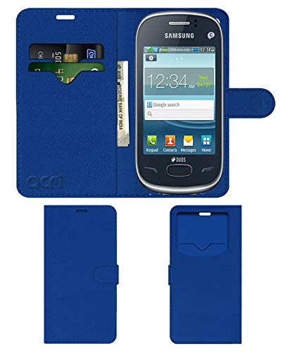 Acm Leather Window Flip Wallet Front & Back Case Compatible with Samsung Rex 70 S3802 Mobile Cover Blue