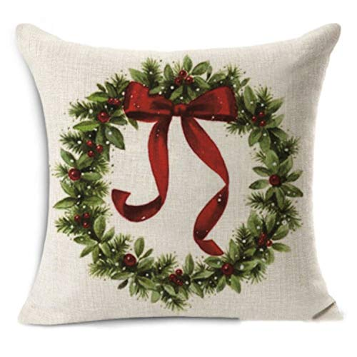 DKISEE Beautiful Christmas Wreath on Decorative Throw Pillow Cover Cotton Linen Pillowcase Cushion Cover for Sofa Bed Couch, 20x20 Inch