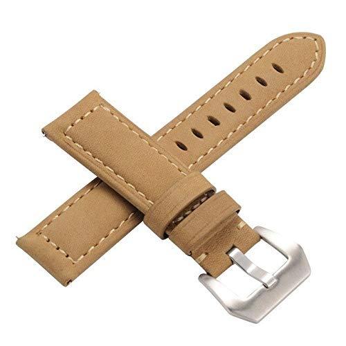 Correa de piel auténtica asequible para Samsung Gear S3 de 22 mm de repuesto fácil correa de reloj deportivo con cierre de hebilla de acero inoxidable (color: caqui mate, tamaño: 22 mm)