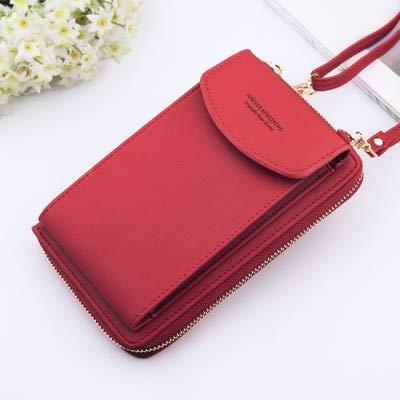 Women Wallet Solid Color Leather Shoulder Straps Shoulder Bag Mobile Phone Big Card Holders Wallet Handbag Pockets girls-Dark Red