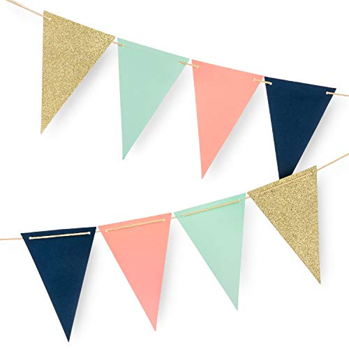 10 Feet Paper Pennant Party Decorations, Triangle Flags Bunting, Paper Triangle Garland for Wedding Decor, Nursery Wall Decor, Baby Shower, Bridal Shower (Gold Glitter, Coral, Mint, Navy Blue) 16PCS