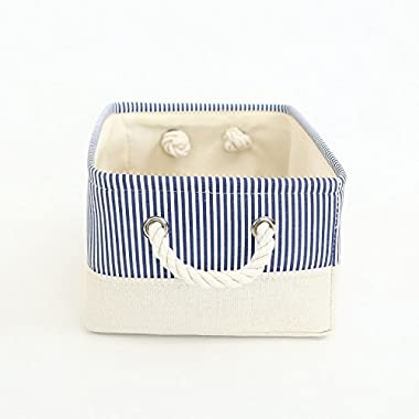 TheWarmHome Basket for Dog Toy Storage,Blue Storage Basket,Decorative Basket for Gifts Empty,Baby Fabric Basket(13.8×9.8×6.7inch)
