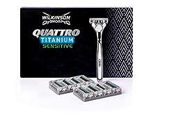 Wilkinson Sword Quattro Titanium Rasierklingen mit Herren Rasierer + 8 Ersatzklingen + 1 Apparat, Briefkastenfähig, 1er Pack