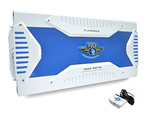 Pyle Hydra Marine Amplifier - Upgraded Elite Series 3000 Watt 8 Channel Bridgeable Amp Tri-Mode Configurable, Waterproof, MOSFET Power Supply, GAIN Level Controls and RCA Stereo Input (PLMRA820)