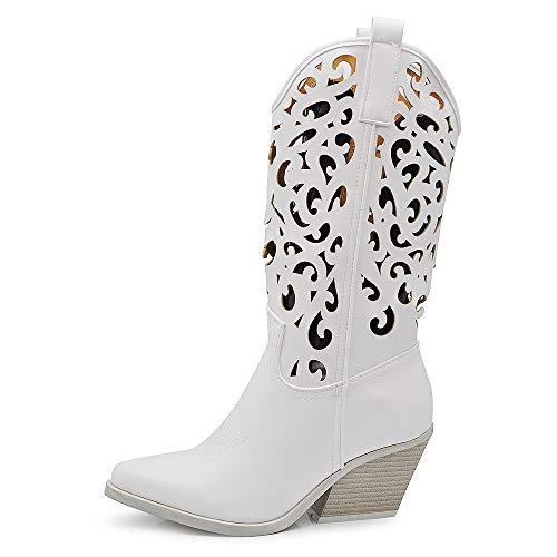 If Fashion Cowboy Western Scarpe da Donna Stivali Stivaletti Punta Camperos Texani Etnici LY80-3 Bianco 37