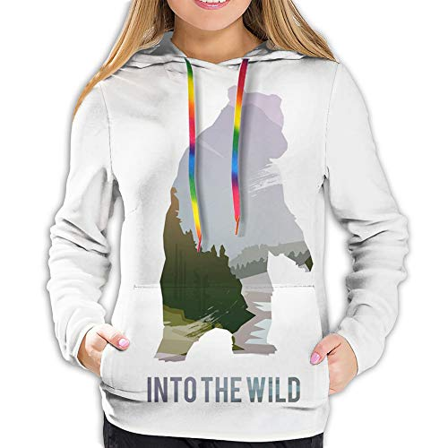 Women's Hoodie Sweatshirt,Wild Animals of Canada Survival in The Wild Theme Hunting Camping Trip Hobby Outdoors,XL