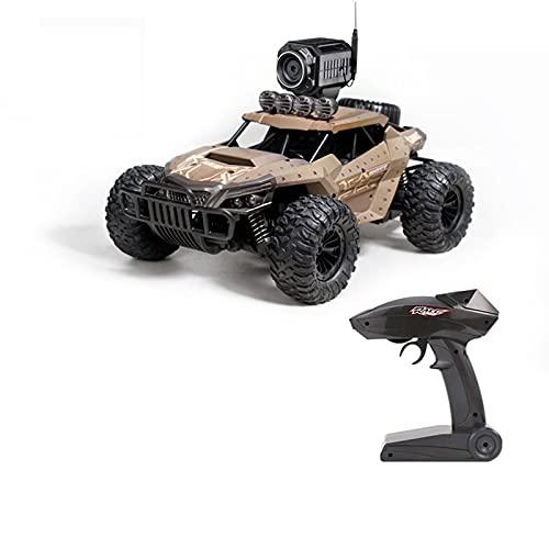 LTLGHY Carro RC Com Câmara HD, Camiões Todo O Terreno 4WD Controlo Remoto Corridas Escalada Alta Velocidade Camiões Alta Velocidade 2,4 GHz 25 Km/H para Crianças E Meninas,Marrón
