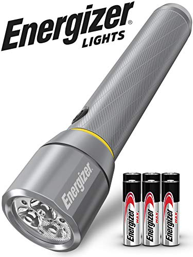 Energizer LED Tactical Metal Flashlight, 1300 High Lumens, Durable Aircraft-Grade Metal Body, IPX4 Water-Resistant, Use For Hurricane Supplies, Survival Kit, Camping Accessories, Batteries Included