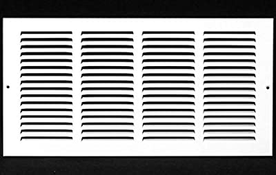 "16""w X 10""h Steel Return Air Grilles - Sidewall and Ceiling - HVAC Duct Cover - White [Outer Dimensions: 17.75""w X 11.75""h]"