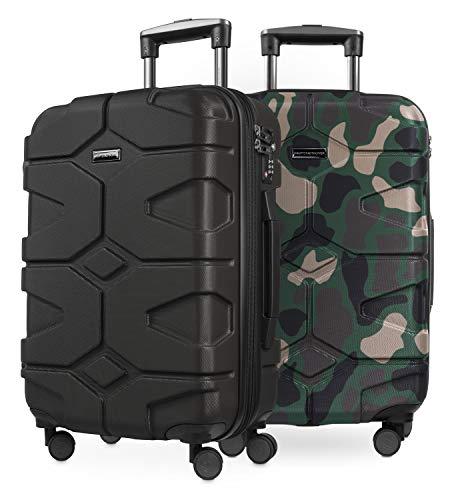 HAUPTSTADTKOFFER - X-Kölln - 2er Koffer-Set Handgepäck Trolley-Set Rollkoffer Reisekoffer, TSA, (S & S), Schwarz & Camouflage matt