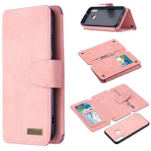 Snow Color Huawei P40 Lite E / Y7p Hülle, Premium Leder Tasche Flip Wallet Case [Standfunktion] [Kartenfächern] PU-Leder Schutzhülle Brieftasche Handyhülle für Huawei Y7p / Honor 9C - COBFE080278 Rosa