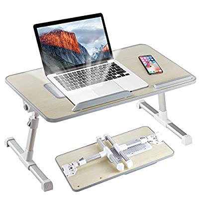 8AM Adjustable Laptop Stand Portable Laptop Table with Foldable Legs Notebook Computer Desk for Laptop Reading and Writing Lap Tray for Eating in Bed Sofa Couch Floor (Large, Wood)