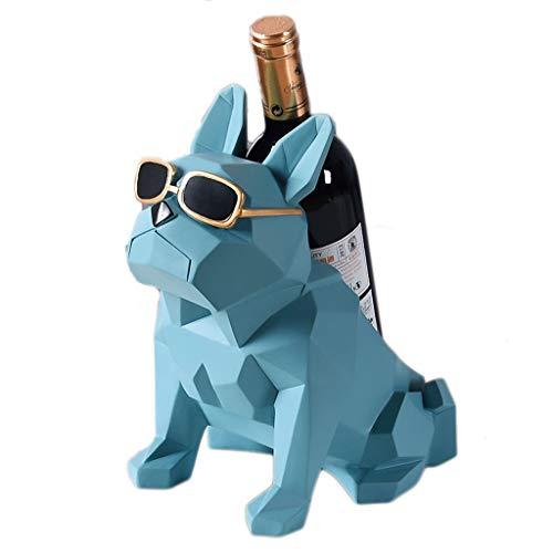 Botelleros Botellero Vino Resina Estante del Vino Geometría Abstracta Bulldog Estatua Vino Titular de la Botella de Almacenamiento de estanterías Morden Gafas de Sol Perro Cerveza Whisky Base de Vino