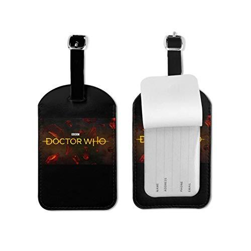 Do-ctor W-ho - Etiquetas para equipaje de viaje para viajeros inteligentes, lo mejor para evitar la pérdida de bolsas y maletas, piel sintética de microfibra, 2.7 x 4.3 pulgadas