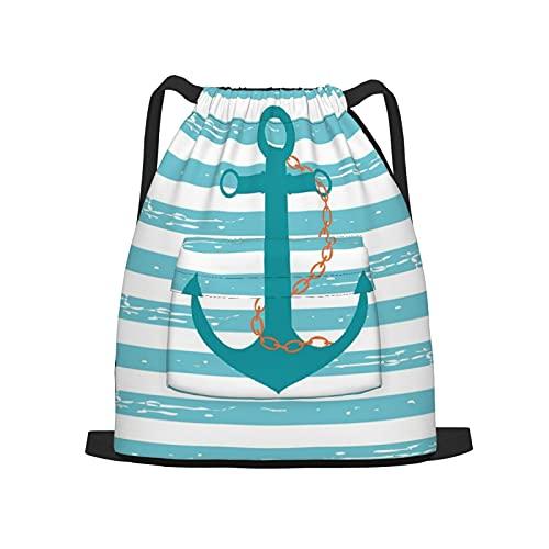 BohoMonos Mochila deportiva con cordón,Cadena de ancla de barco verde azulado Vida m, Gym Sackpack para Hombres Mujeres Niños Yoga Travel Camping String Bag.