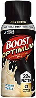 Boost Optimum Advanced Nutritional Drink, Creamy Vanilla, 8 fl oz bottle, 16 Pack (Packaging May Vary)