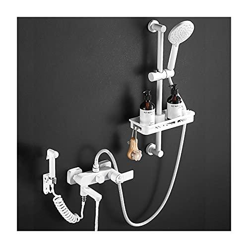 Shower Set Grifo de Bañera Blanco Montaje en Pared Grifería de Bañera Termostática Mezclador de Bañera con Ducha de Mano, Barra de Ducha, Pulverizador para Bidé