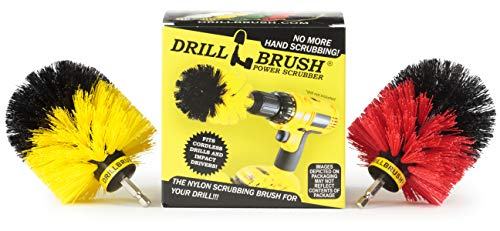 Spin Brush Cleaning Kit - Drill Brush - Concrete, Brick, Fireplace, Stone - Bird Bath - Garden Statuary - Bathroom Accessories - Soap Scum, Hard Water, Mineral, Calcium, Rust Stains and Discoloration