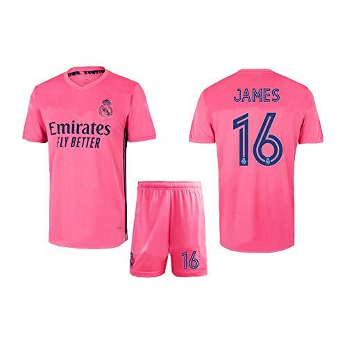 LCHENX-Real Madrid # 16 James Rodríguez Fans Camiseta de Fútbol para Hombres y Niños Conjuntos de Camisetas de Partidario de Fútbol,Rosado,XXL