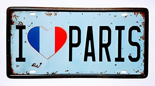 MR Placa de matricula Vintage I Love Paris 30 x 15 cm