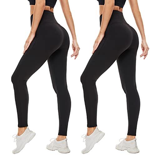 High Waisted Leggings for Women-Womens Black Workout Leggings Running Tummy Control Yoga Pants(L-XL)