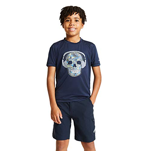Dare2b Rightful-Camiseta Informal Estampada, Tejido De Secado Rápido, Costuras Planas Y Detalles Reflectantes T-Shirts/Polos/Vests, Niños, Outer Space Blue, 14 Yr