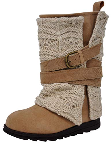 MUK LUKS Women's Nikki Grey Fashion Boot (10 M US, Ivory/Tan)