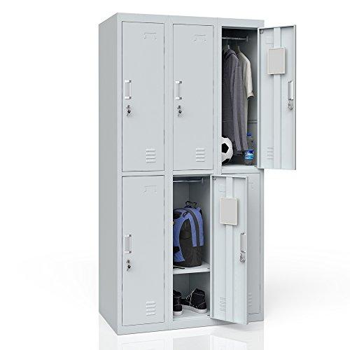 OSKAR Schließfachschrank Spind mit Kleiderstange und Spiegel Metallspind Umkleideschrank Metallschrank (6 Fächer)