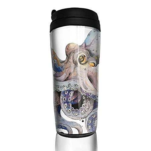 Octopus Watercolor Taza de café reutilizable vasos con tapa