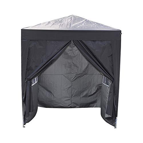 Carpa plegable impermeable para jardín de 2 m x 2 m, con paneles laterales, toldo para exteriores, jardín, patio, fiesta, playa, boda, color negro