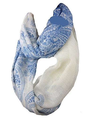 NEW BERRY Looptuch Paisley leichte Baumwolle Tücher & Schals BC-415 (blau hellblau)