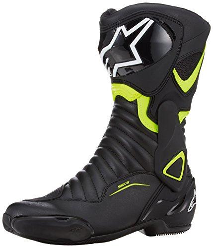 Alpinestars, Botas para Moto SMX 6V2, Negro, Amarillo Fluorescente–40