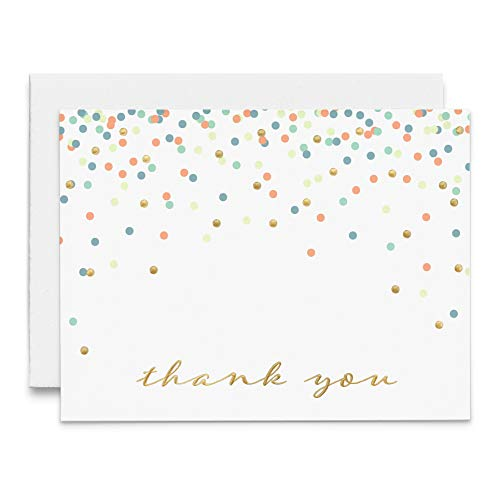 48 Pack Thank You Notes with Gold Foil and Embossing- Blank Cards with Envelopes for Wedding, Graduation, Baby Shower, Bridal Shower, Sympathy- 5.5 in by 4.25 in, Cascading Confetti Pastel Dots White