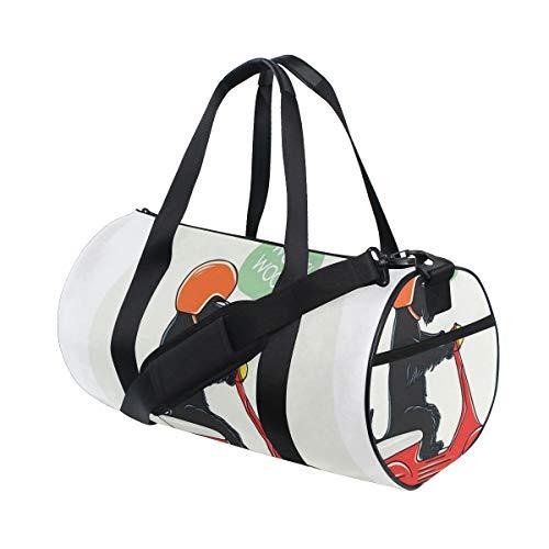 HARXISE Bolsa de Viaje,Ilustración de un Scooter a Caballo con diseño de cómic de Globo de Texto de Woof,Bolsa de Deporte con Compartimento para Sports Gym Bag