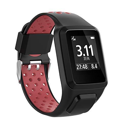 MCO Armband kompatibel Tom Tom,Silikon Uhrenbänder für Tomtom Runner 3 Armband/Runner 2/Spark 3/Adventurer/Golfer 2 (Schwarz&rot)