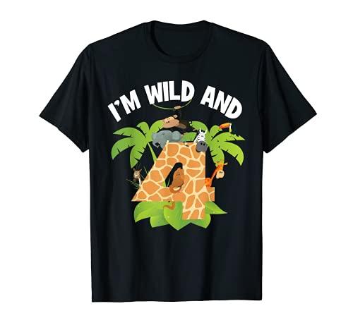I'm Wild And 4 Years Old Zoo, festa con animali per 4 anni Maglietta