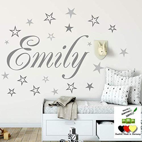 Wandschnörkel® Wandtattoo Namen HM~AA120 Kindernamen +20 teiliges Sterne Set Kinderzimmer Türschild Baby Mädchen Jungen personalisiert Grau Mix Set oder andere Farben